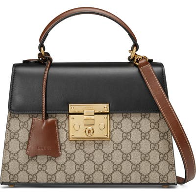 Gucci Small Padlockcanvas & Leather Top Handle Satchel - Beige