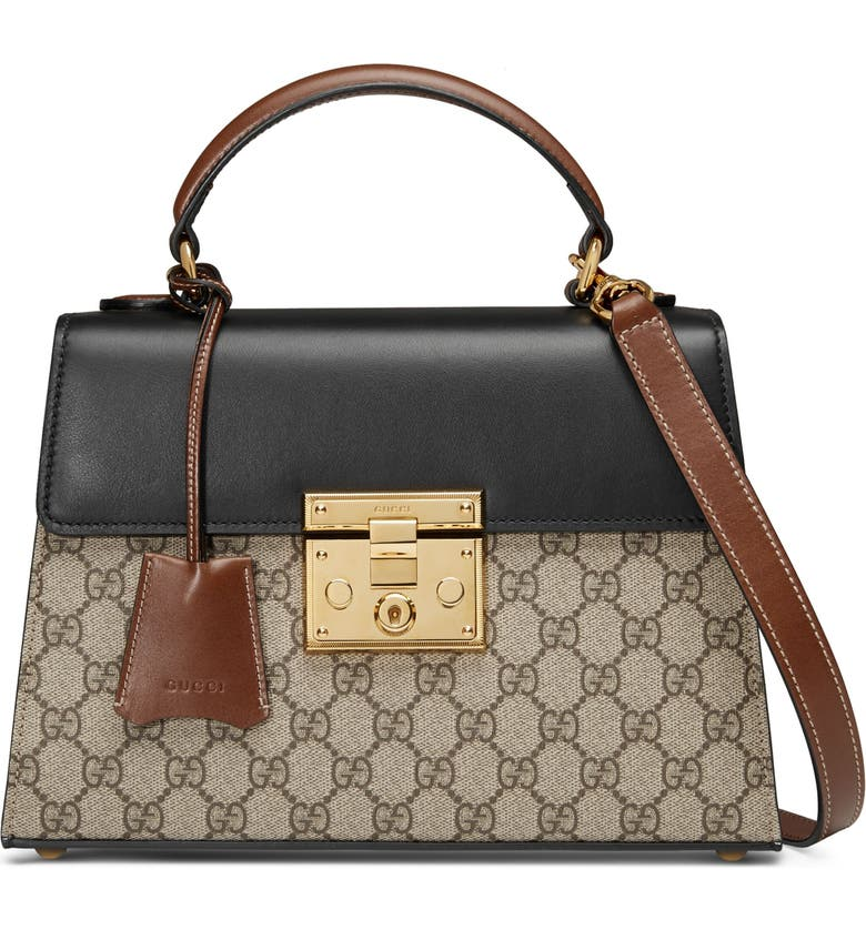 GUCCI Small PadlockCanvas & Leather Top Handle Satchel, Main, color, BEIGE EBONY/ NERO/ TOSCANO