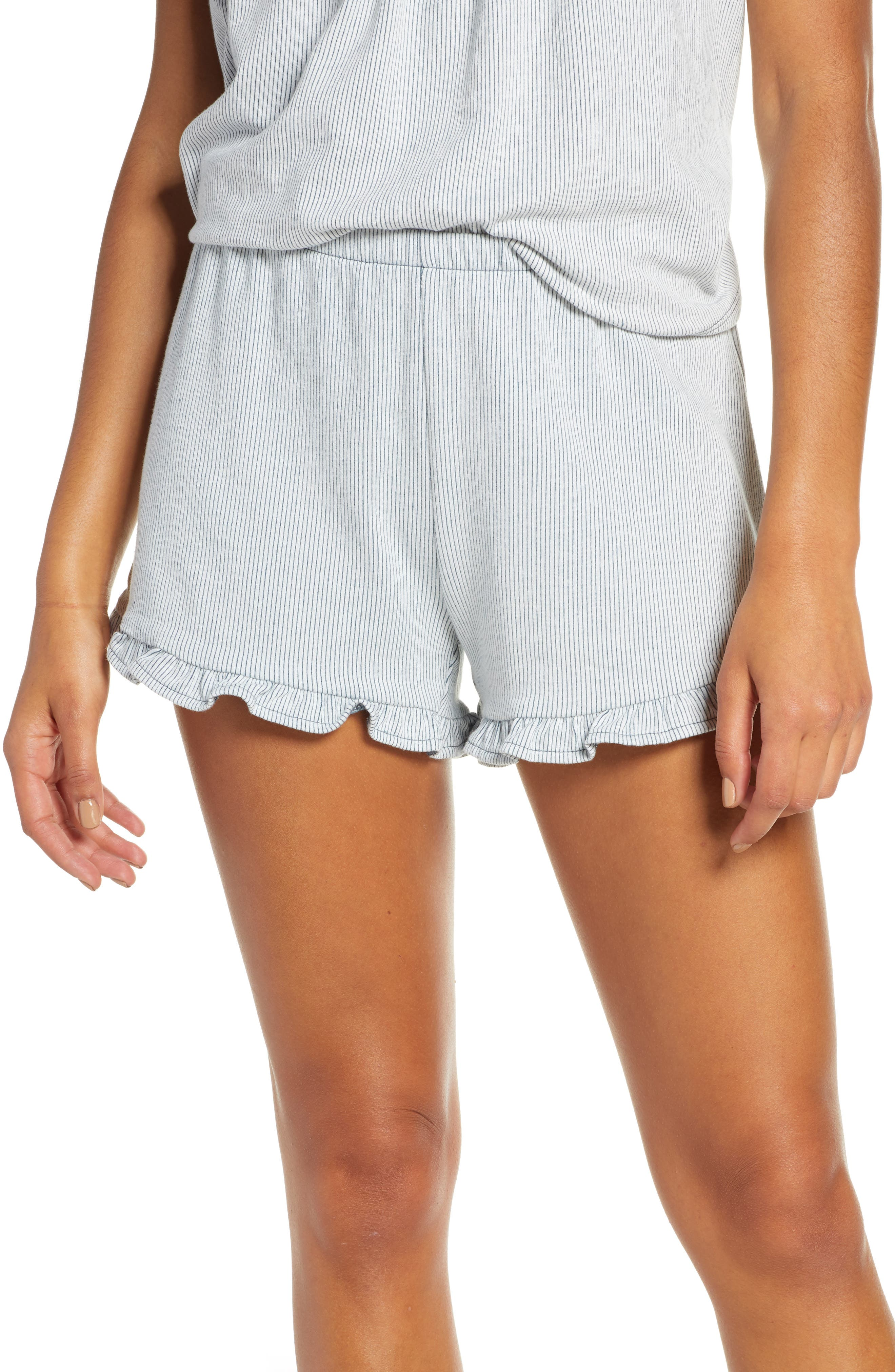 Madewell Ruffle-Hem Pajama Shorts, Blue