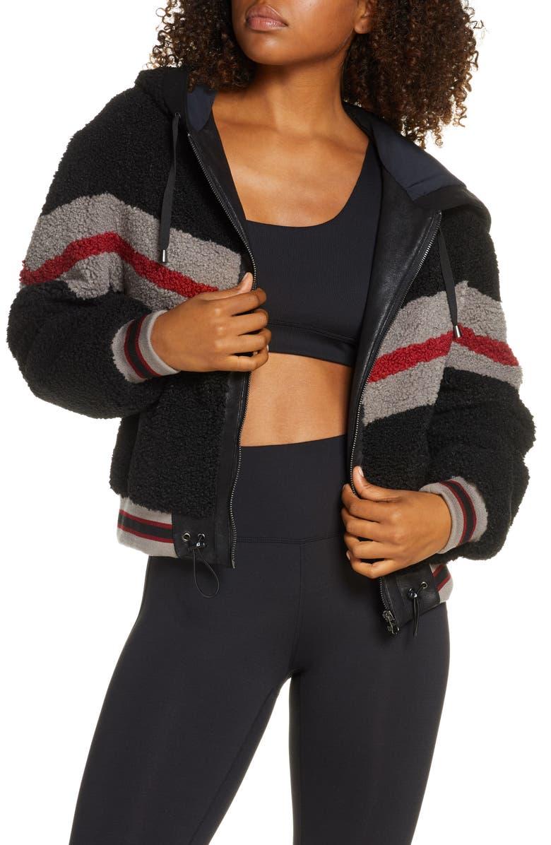 BLANC NOIR Crop Faux Fur Zip Hoodie, Main, color, BLACK