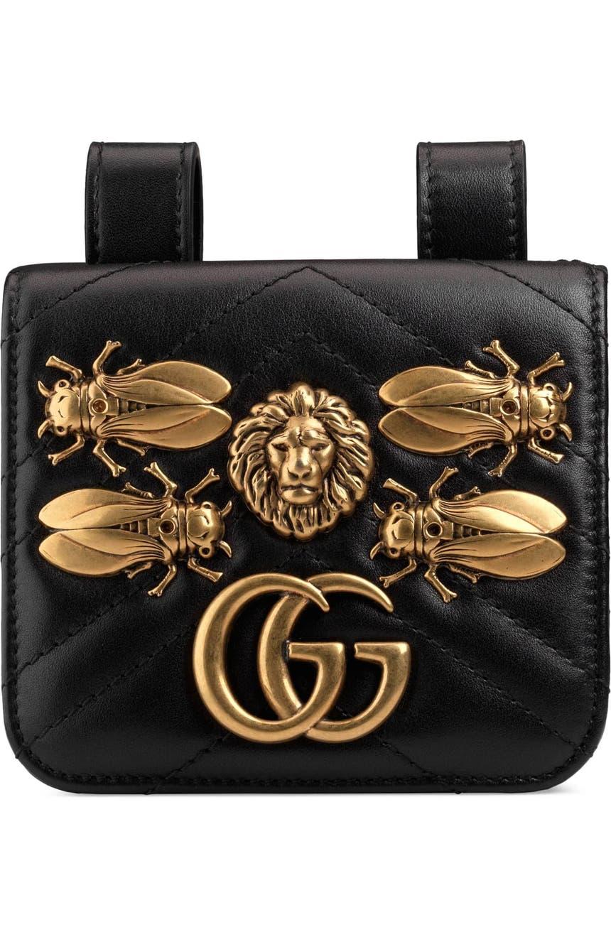 e72d3f1fc72e Gucci GG Marmont 2.0 Animal Stud Matelassé Leather Pouch   Nordstrom