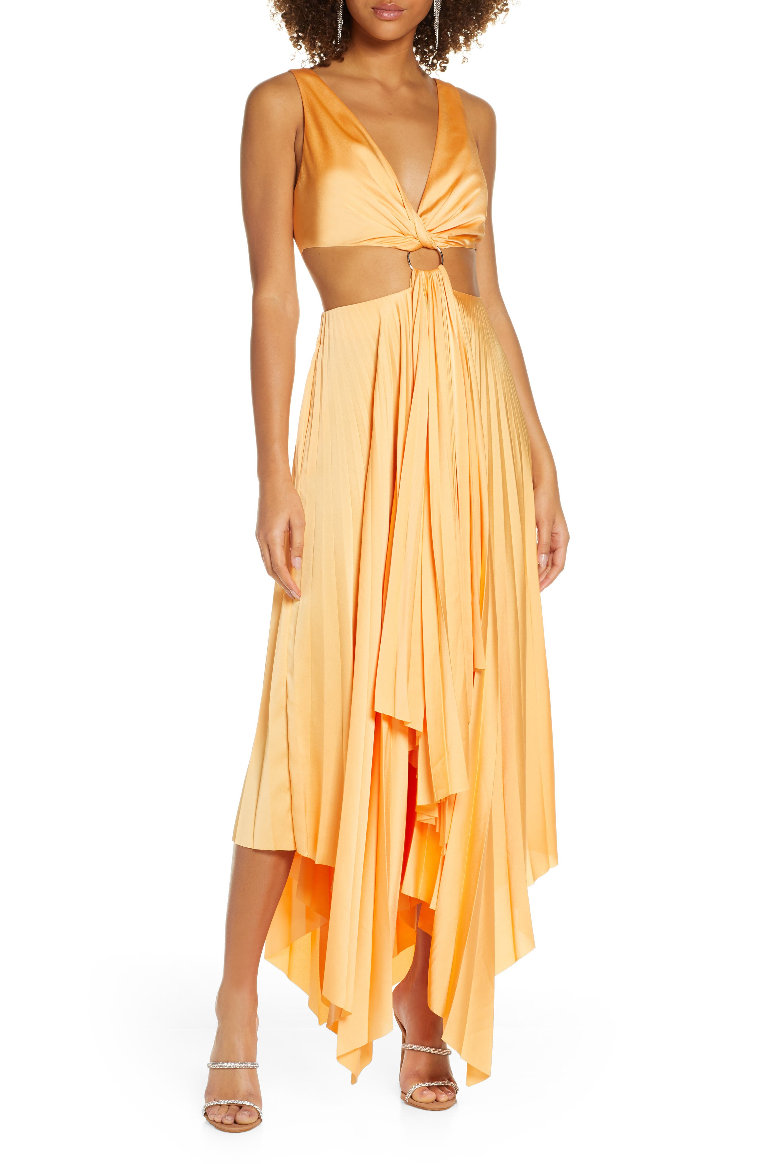 70s Prom, Formal, Evening, Party Dresses Womens Significant Other Eden Cutout Satin Maxi Dress $162.00 AT vintagedancer.com