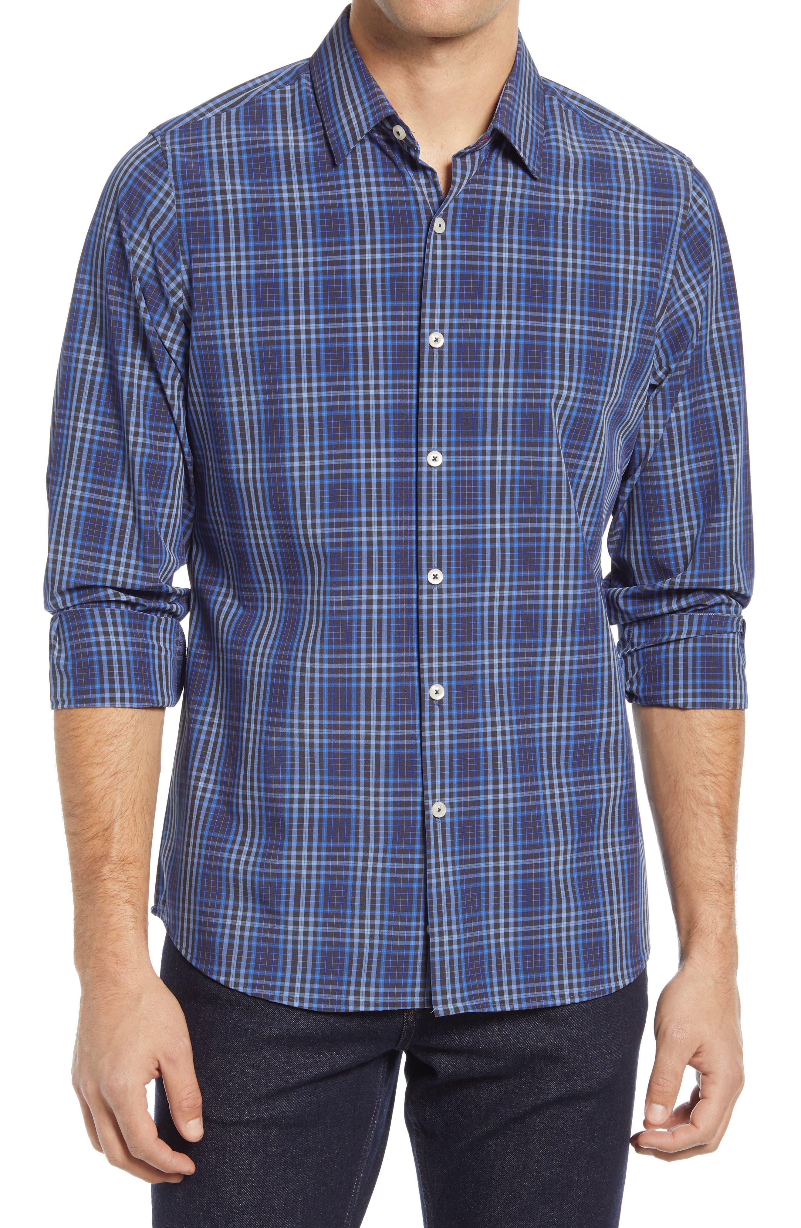 Trim Fit Plaid Button-Up Shirt