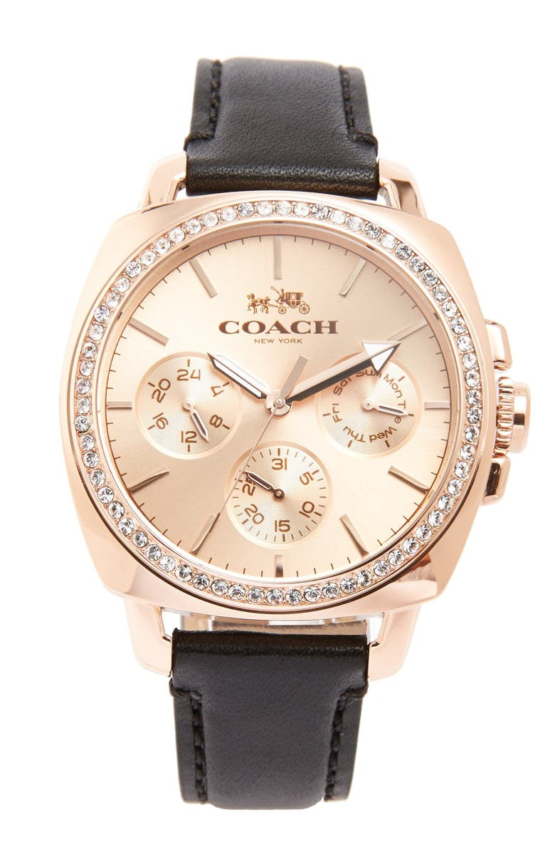 COACH 'Boyfriend' Crystal Bezel Leather Strap Watch, 40mm, Main, color, 001