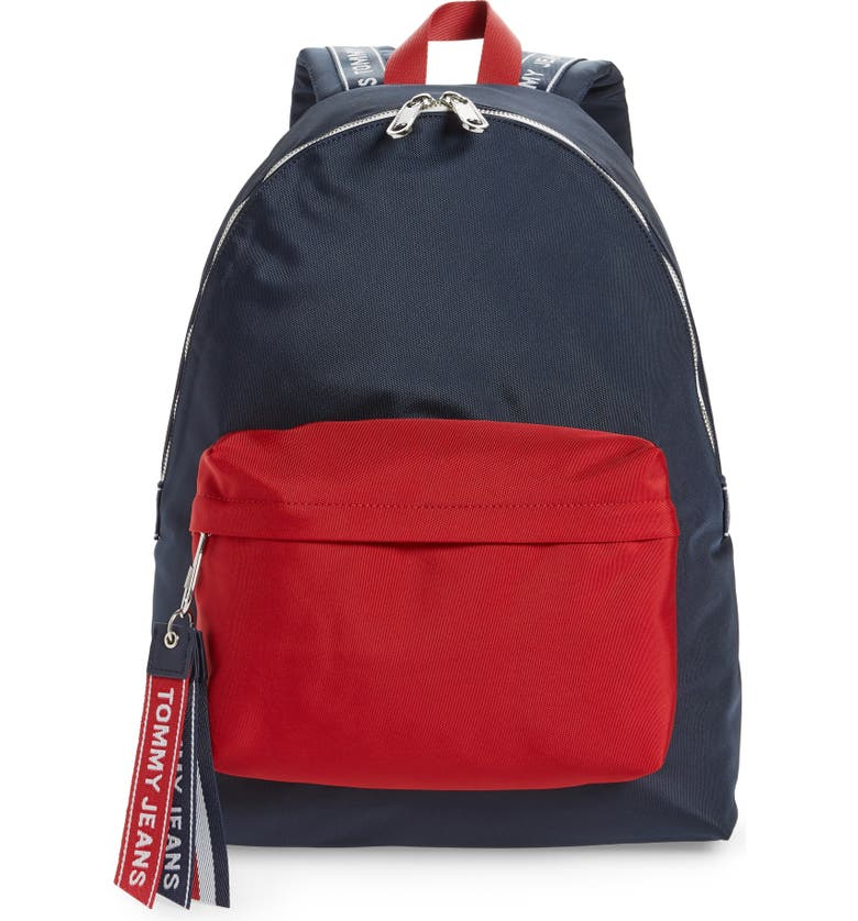TOMMY JEANS Water Resistant Logo Backpack, Main, color, CORPORATE NAVY