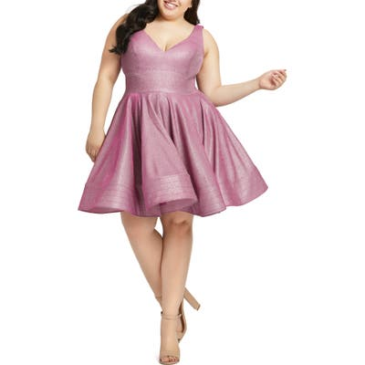 Plus Size MAC Duggal Sleeveless Sparkle Metallic Fit & Flare Dress, Pink