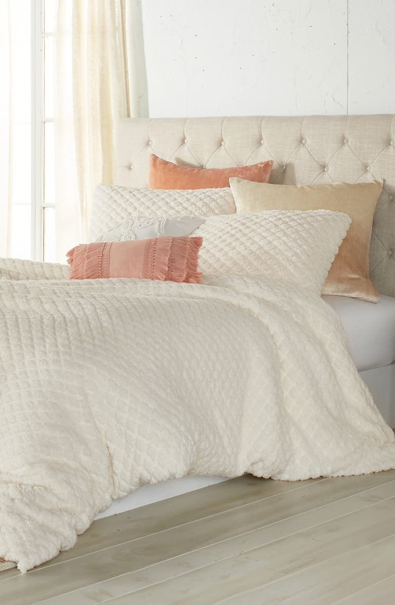 PERI HOME Diamond High Pile Fleece Comforter & Sham Set, Main, color, IVORY