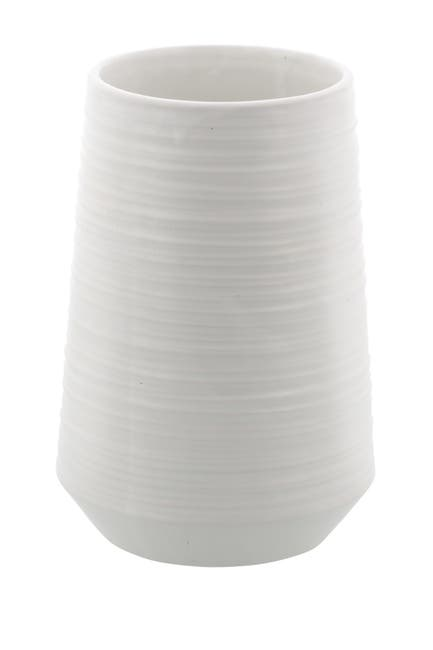 Image of Willow Row Wide Round White Ridged Porcelain Vase