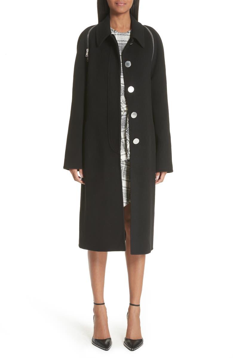 ALEXANDER WANG Zip Detail Wool Coat, Main, color, BLACK