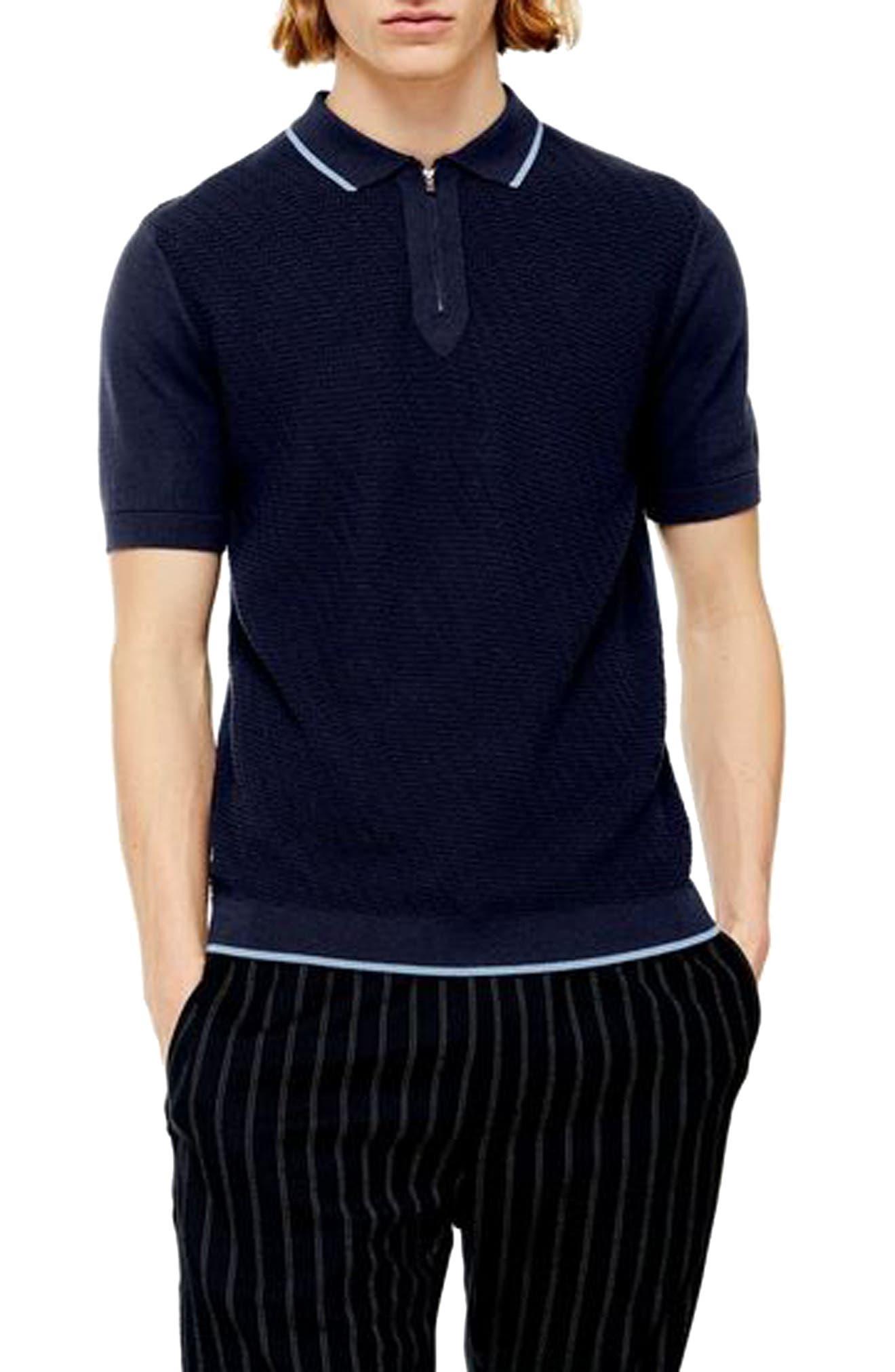 1960s -1970s Men's Clothing Mens Topman Trim Fit Zip Sweater Polo $22.50 AT vintagedancer.com
