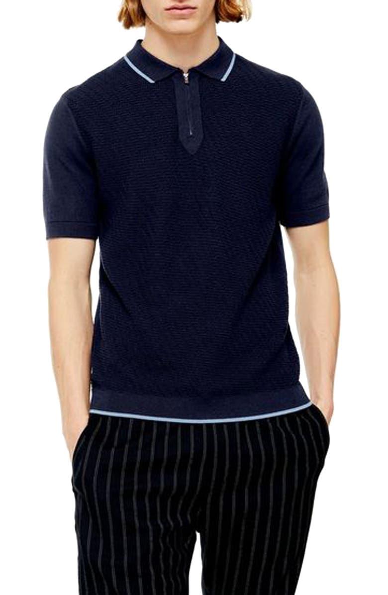 TOPMAN Trim Fit Zip Sweater Polo, Main, color, NAVY BLUE MULTI