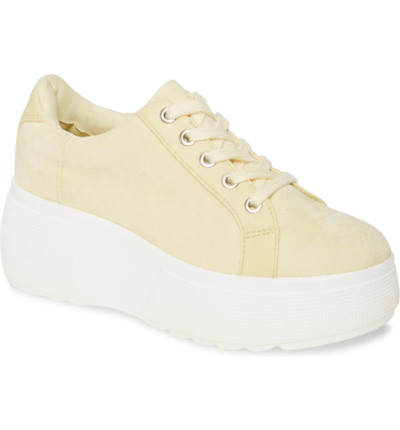 REBELS Bree Platform Sneaker, Main, color, LEMON FAUX LEATHER