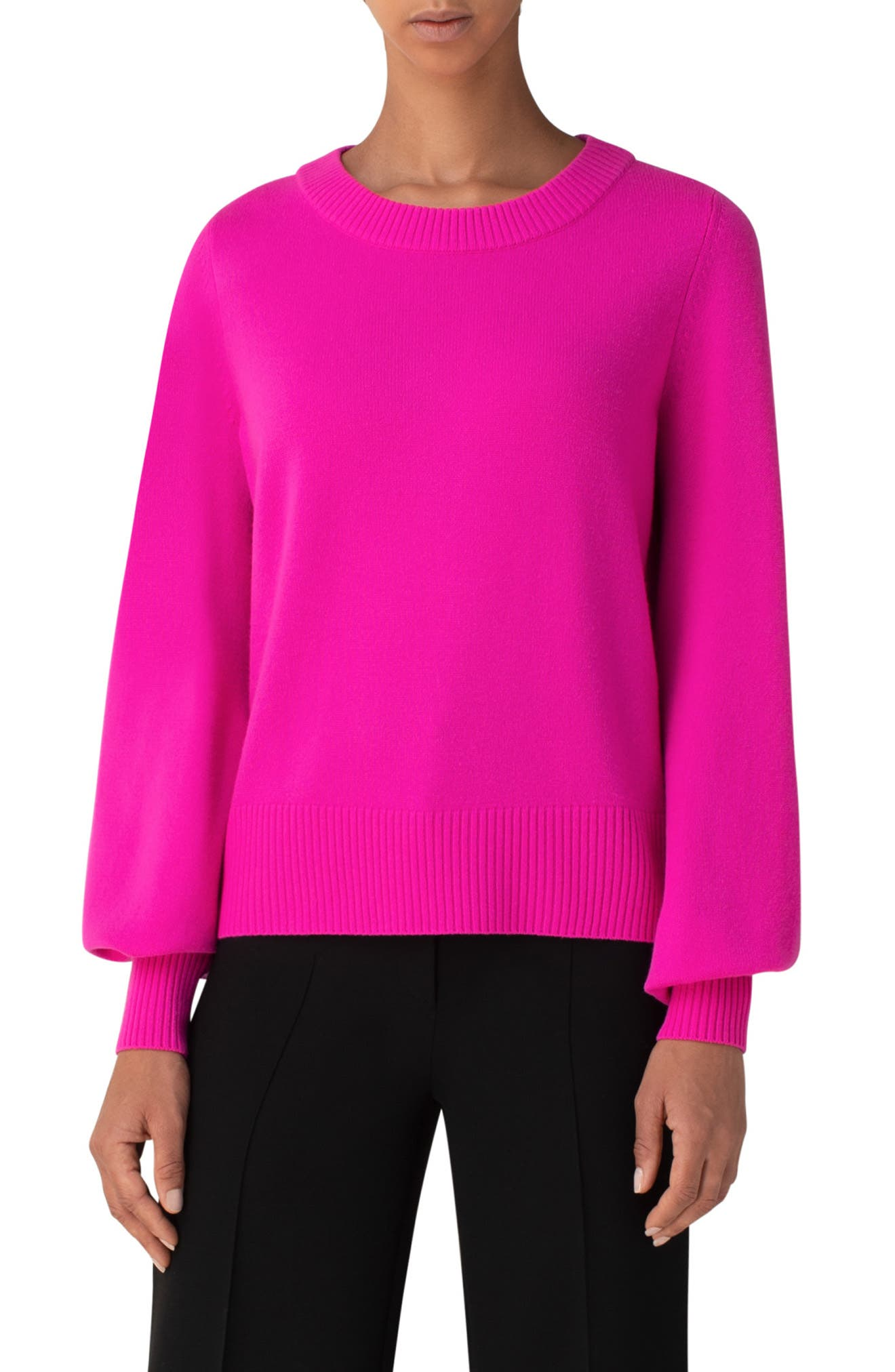 Fully fashioned bishop sleeves are a soft counterpoint to the vivid hue of this boxy crewneck pullover knit from a soft and cozy wool-cashmere blend. Style Name: Akris Punto Wool & Cashmere Sweater. Style Number: 6046440. Available in stores.