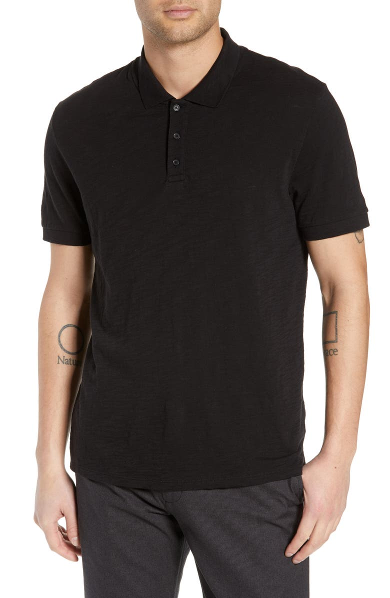 VINCE Slub Slim Fit Polo Shirt, Main, color, BLACK