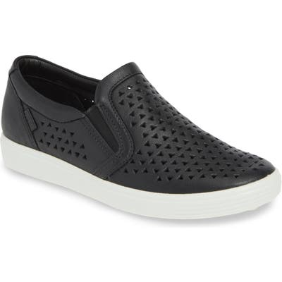 Ecco Soft 7 Laser Cut Slip-On Sneaker, Black