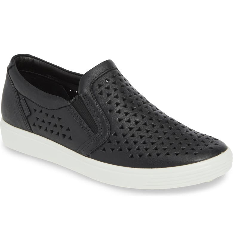ECCO Soft 7 Laser Cut Slip-On Sneaker, Main, color, BLACK LEATHER