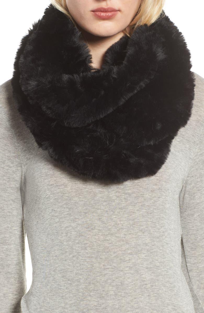 LOVE TOKEN Faux Fur Infinity Scarf, Main, color, BLACK