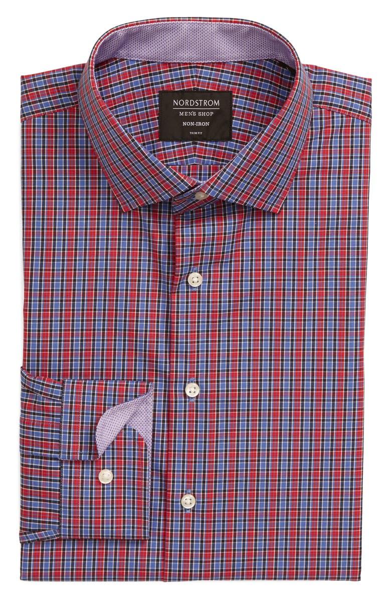 NORDSTROM MEN'S SHOP Trim Fit Non-Iron Check Dress Shirt, Main, color, RED RIBBON