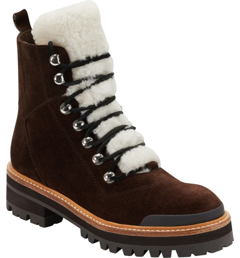 MARC FISHER LTD Izzie Genuine Shearling Lace-Up Boot, Main, color, BROWN MULTI SUEDE