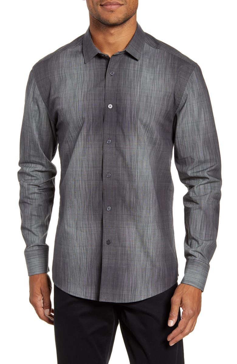 VINCE CAMUTO Slim Fit Abstract Check Button-Up Shirt, Main, color, GREY PLAID HOUNDSTOOTH