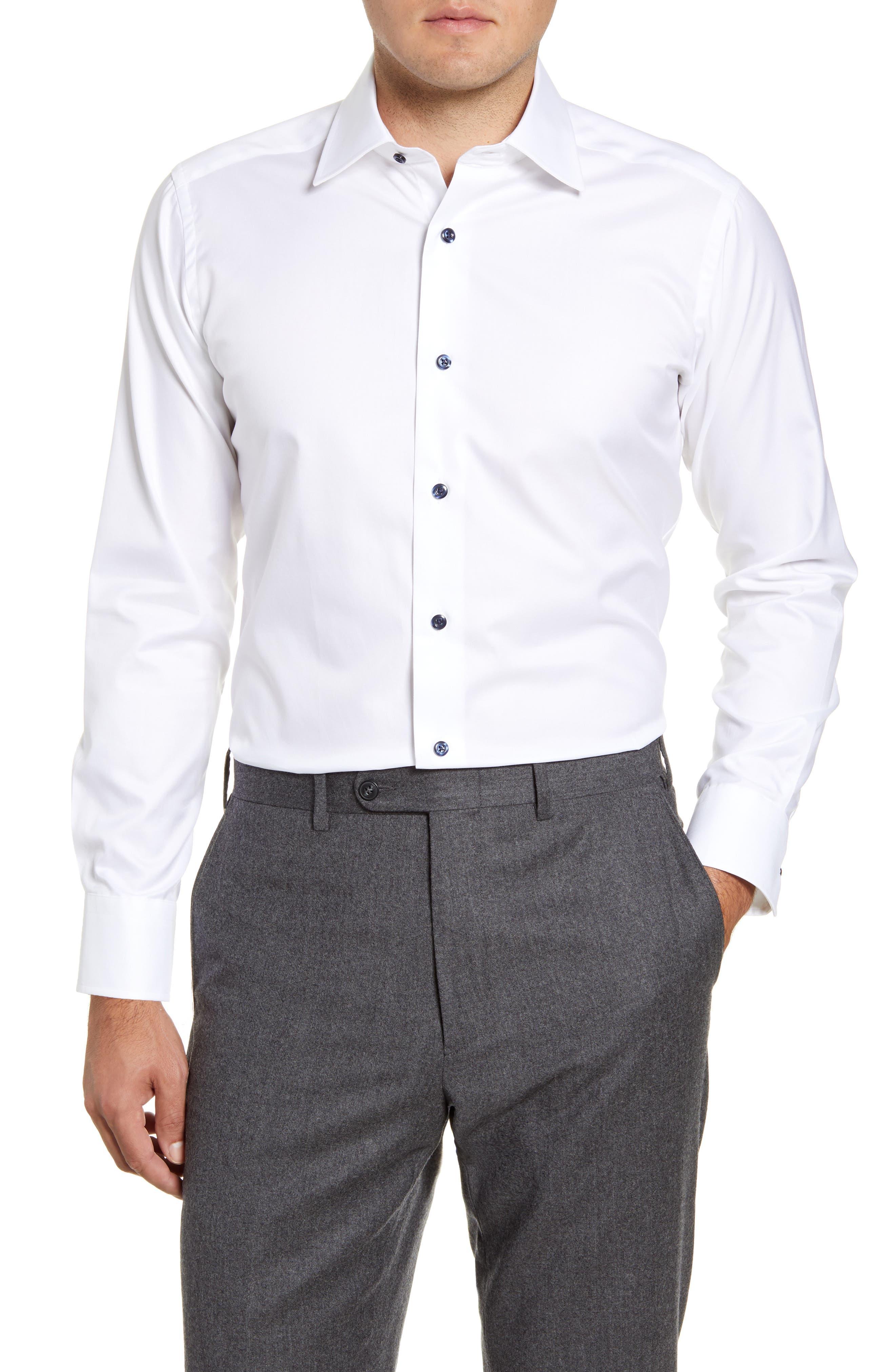 Slim Fit Solid Dress Shirt