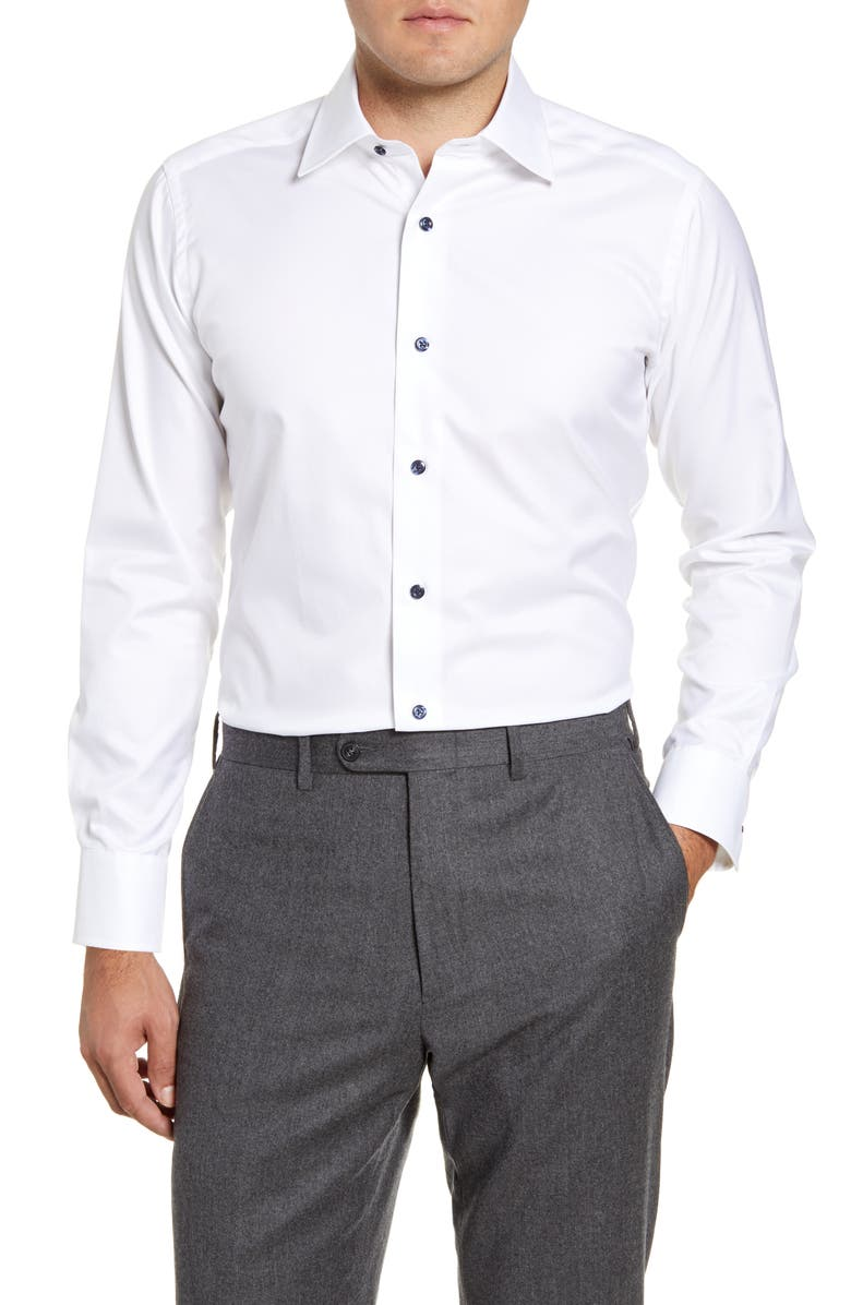 DAVID DONAHUE Slim Fit Solid Dress Shirt, Main, color, WHITE
