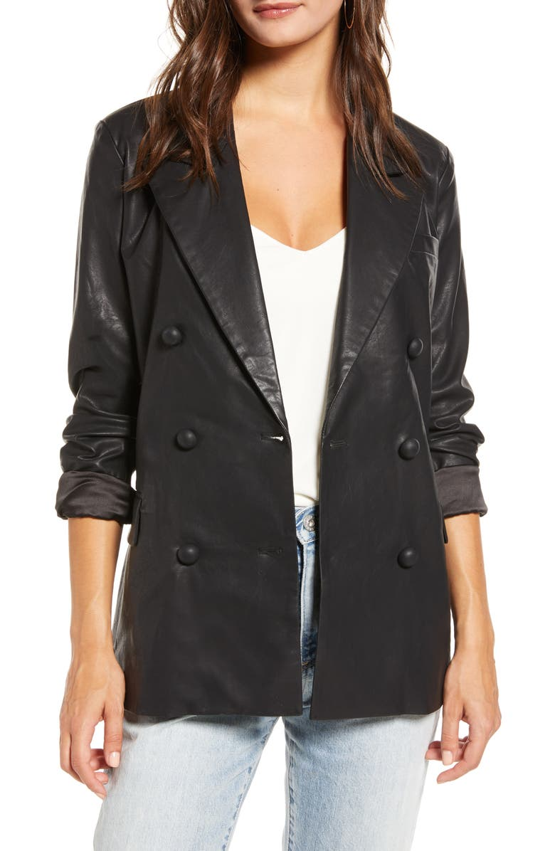 BLANKNYC Faux Leather Blazer, Main, color, 001