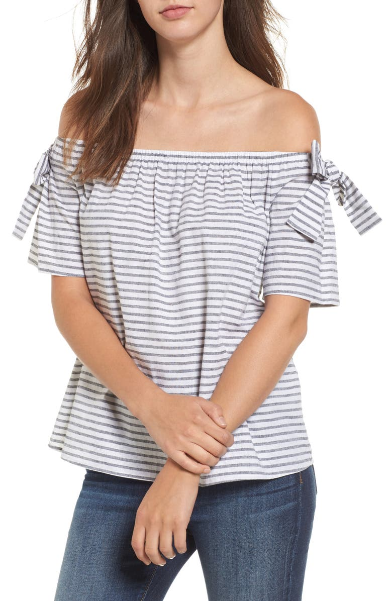 SOPRANO Stripe Cotton & Linen Off the Shoulder Top, Main, color, 001