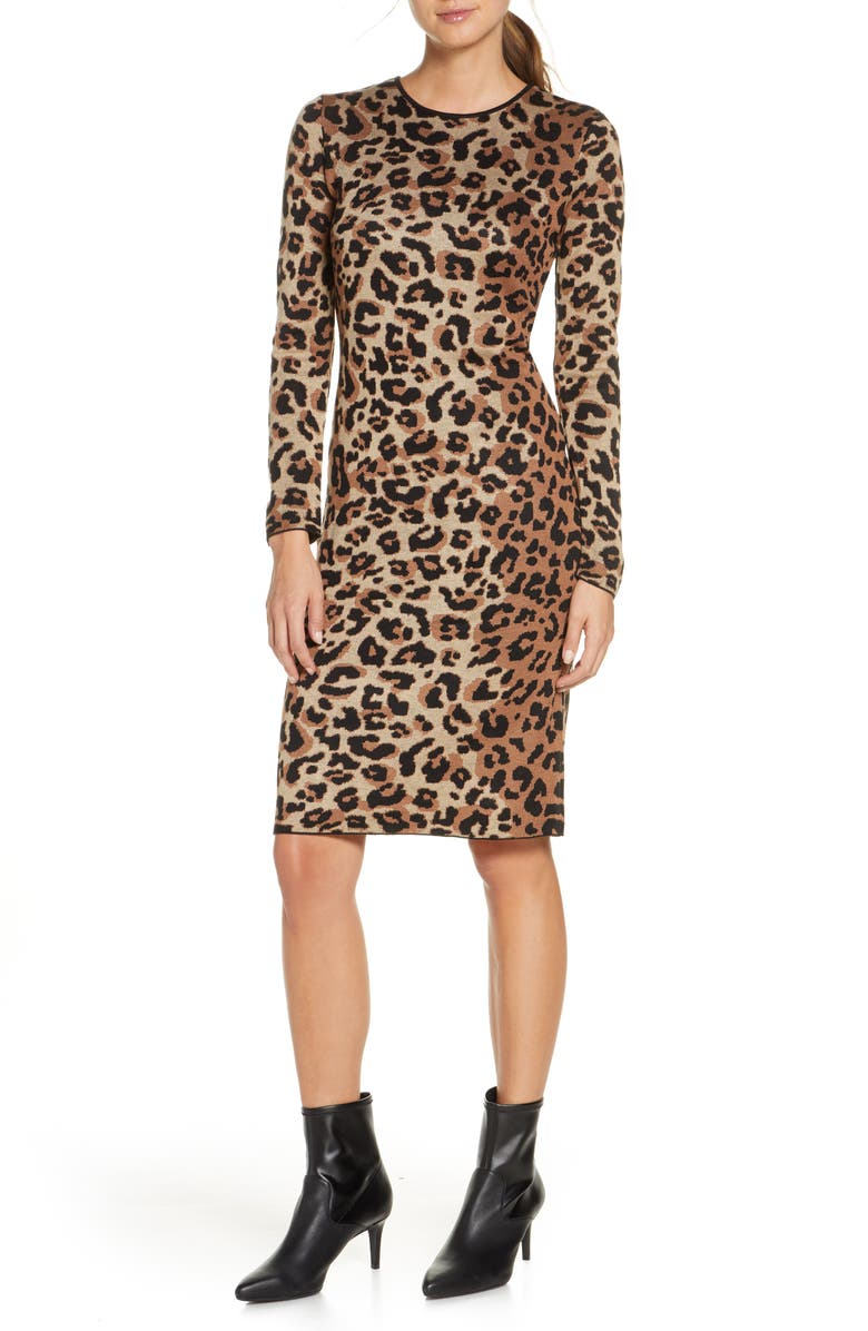 VINCE CAMUTO Long Sleeve Animal Jacquard Sweater Dress, Main, color, MULTI