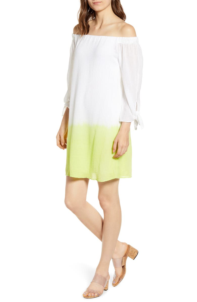 BAILEY 44 Ground Cover Off the Shoulder Dress, Main, color, WHITE/ LIME