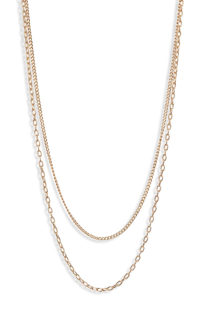 ZOË CHICCO Double Chain Necklace, Main, color, YELLOW GOLD