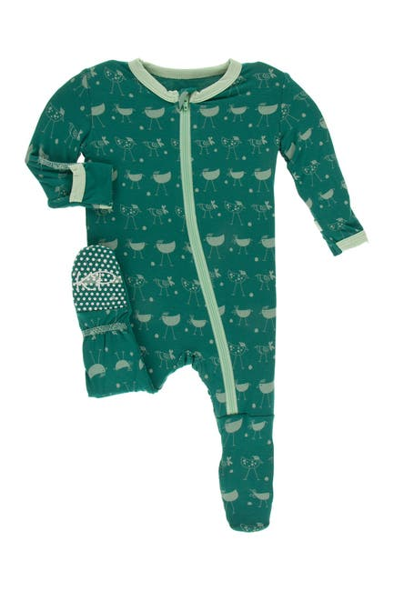 Image of KicKee Pants Print Footie w/ Zipper in Ivy Chickens