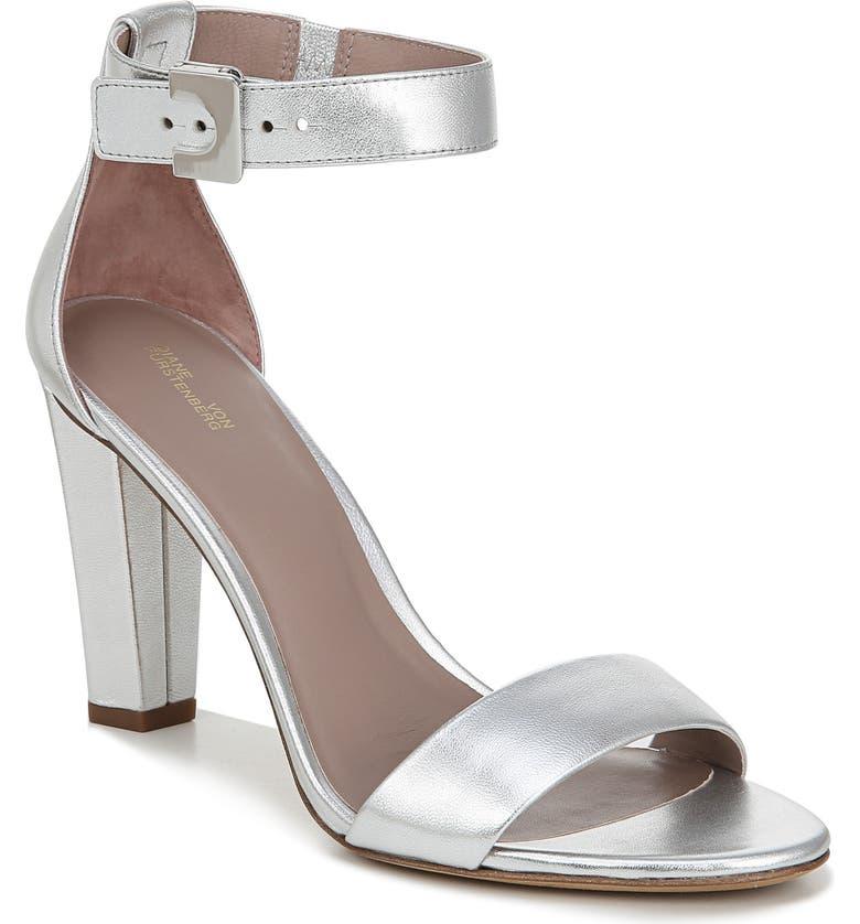 DIANE VON FURSTENBERG Ankle Strap Sandal, Main, color, SILVER
