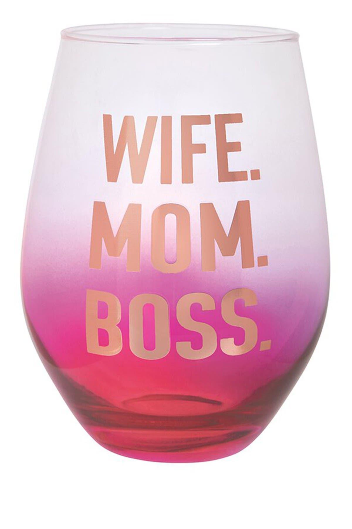 Image of SLANT COLLECTIONS Wife. Mom. Boss. Jumbo Stemless Novelty Wine Glass