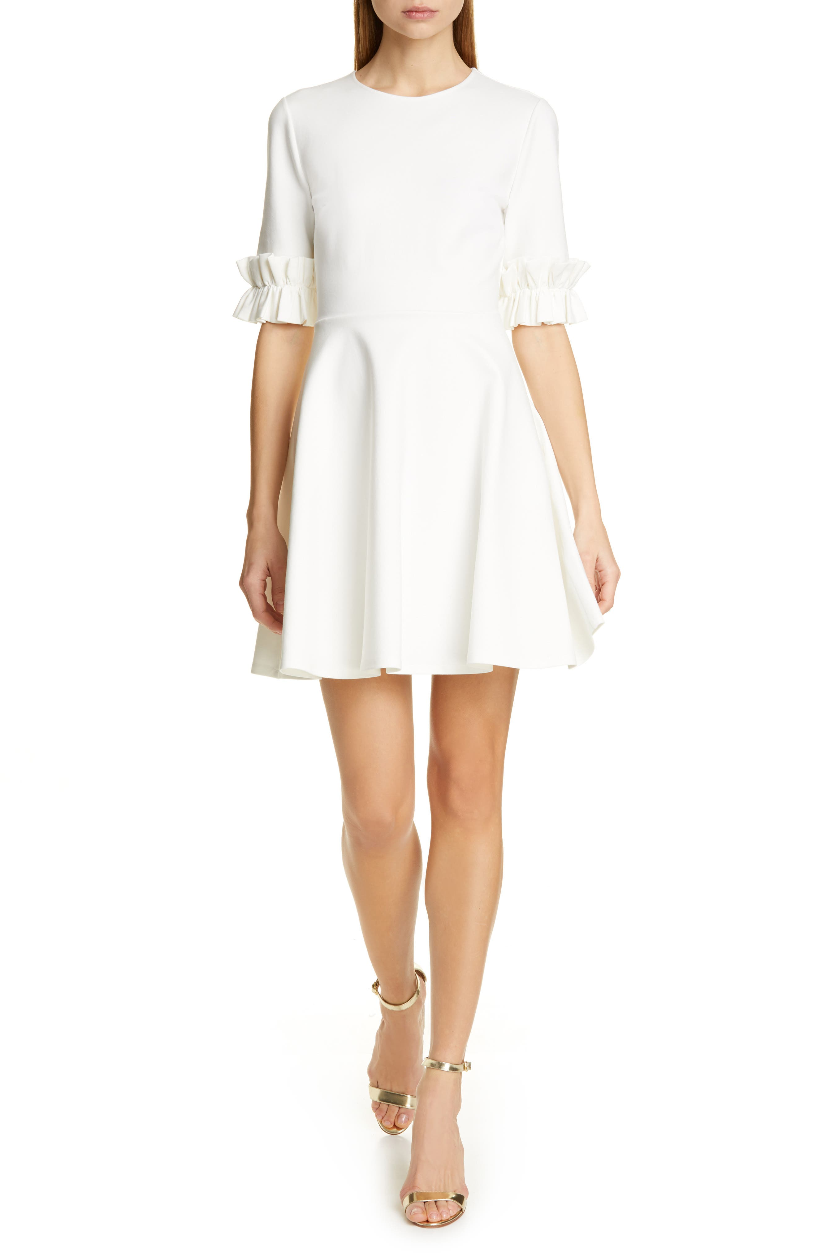 Ted Baker London Ritzi Ruffle Sleeve Skater Dress, Ivory