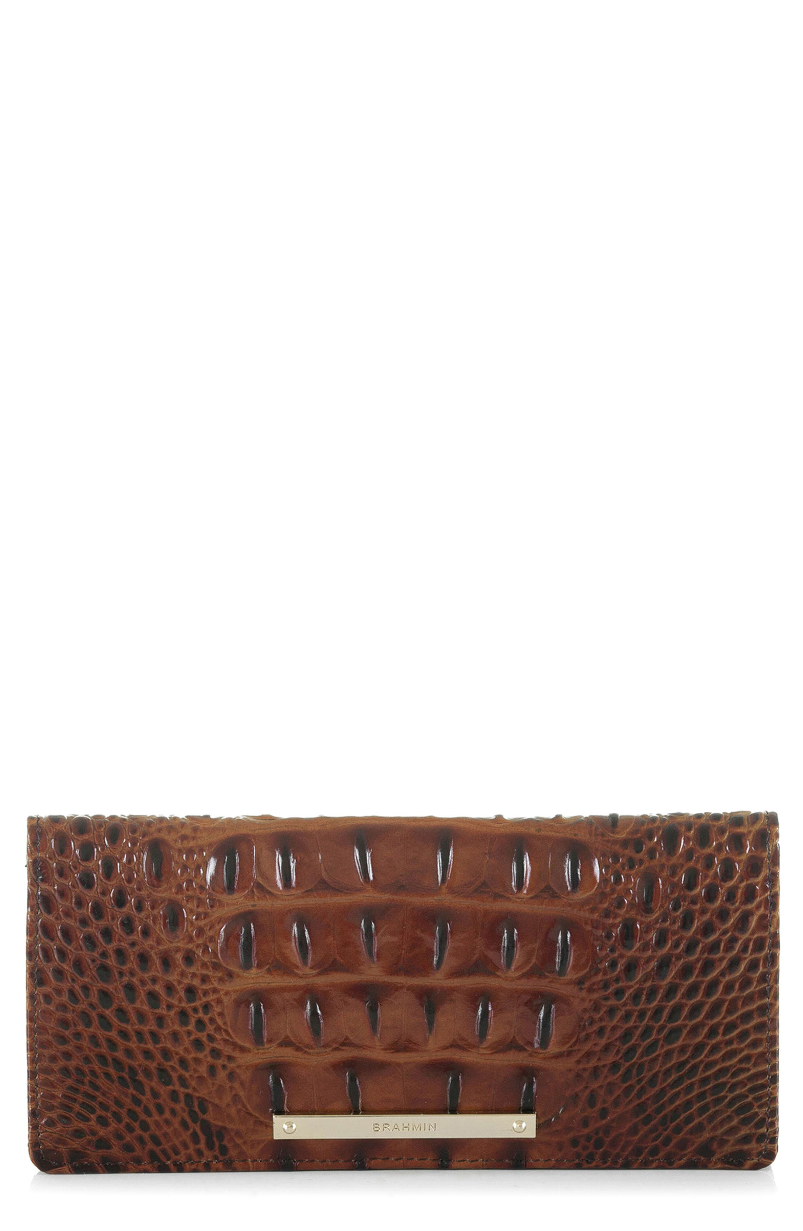 'Ady' Croc Embossed Continental Wallet