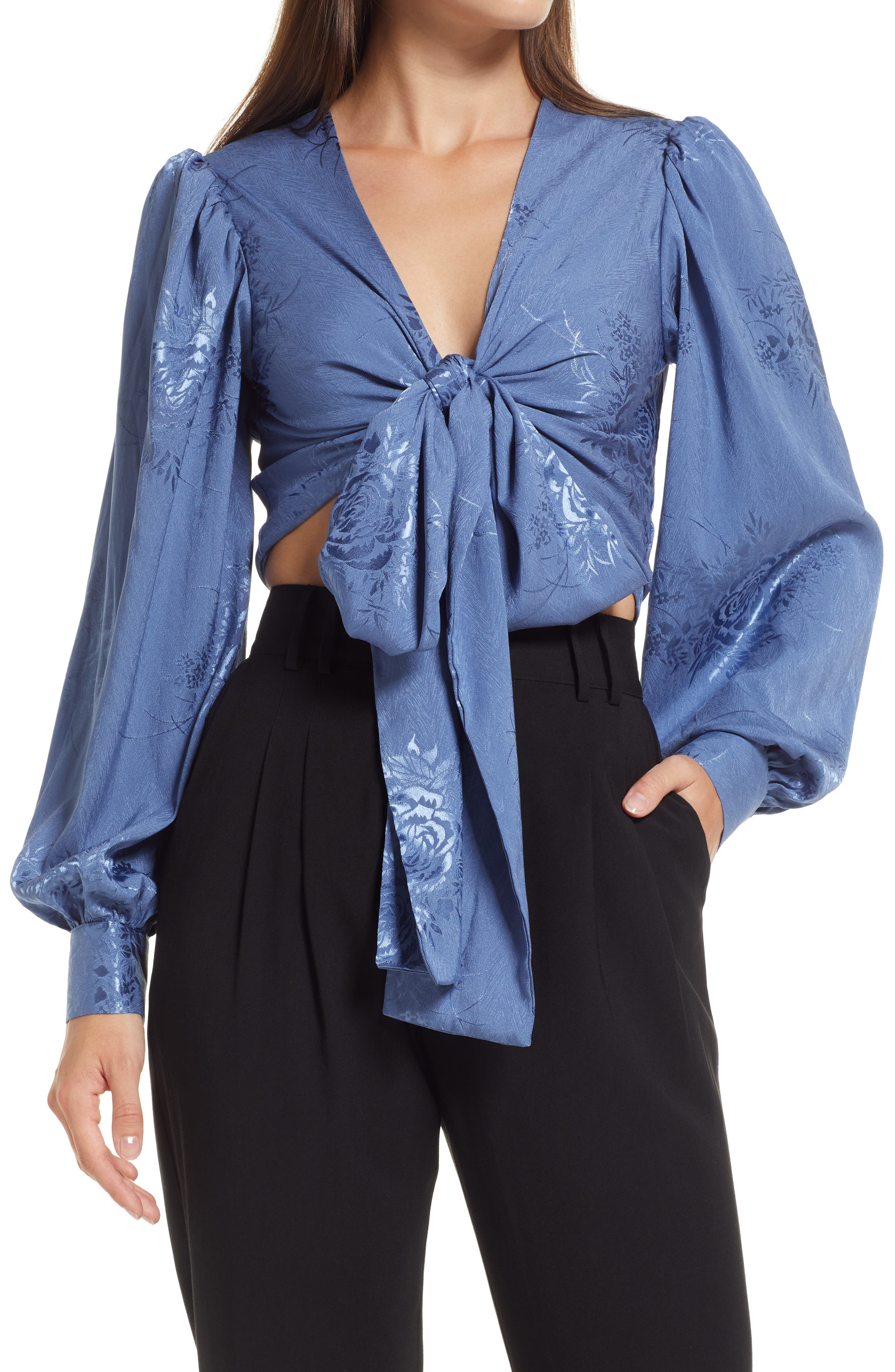 Highly Iconic Satin Jacquard Tie Front Top