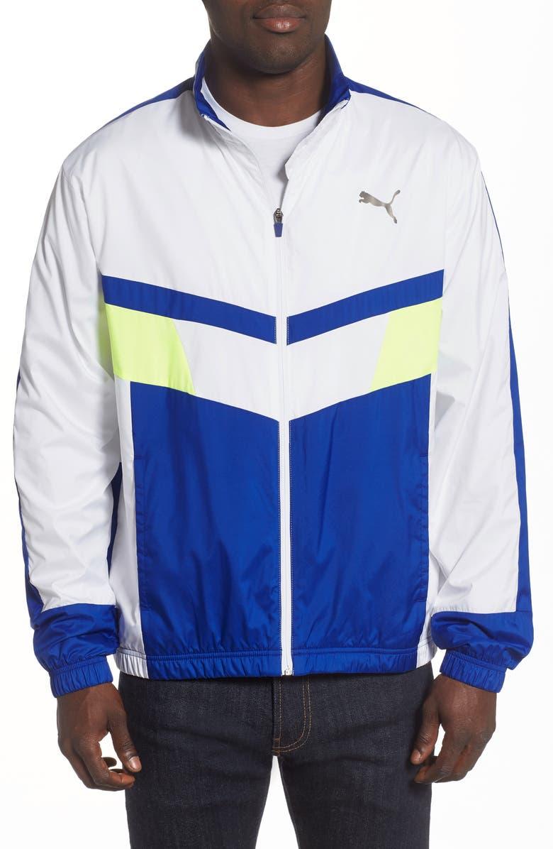 PUMA Chevron Water Resistant Nylon Track Jacket, Main, color, PUMA WHITE/ SURF THE WEB