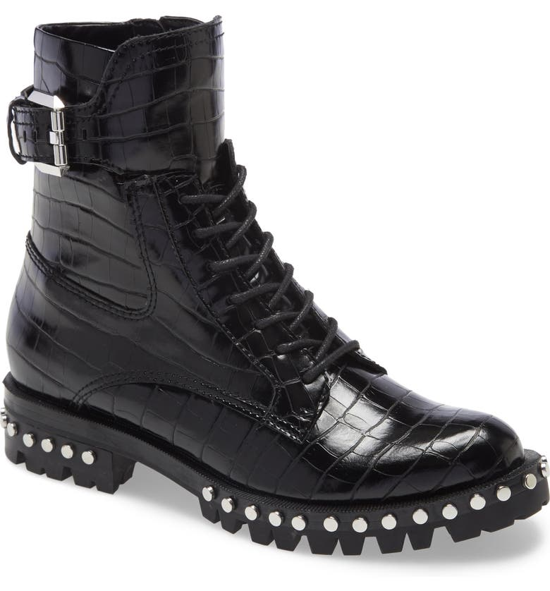 DOLCE VITA Prest Lace-Up Boot, Main, color, NOIR CROC