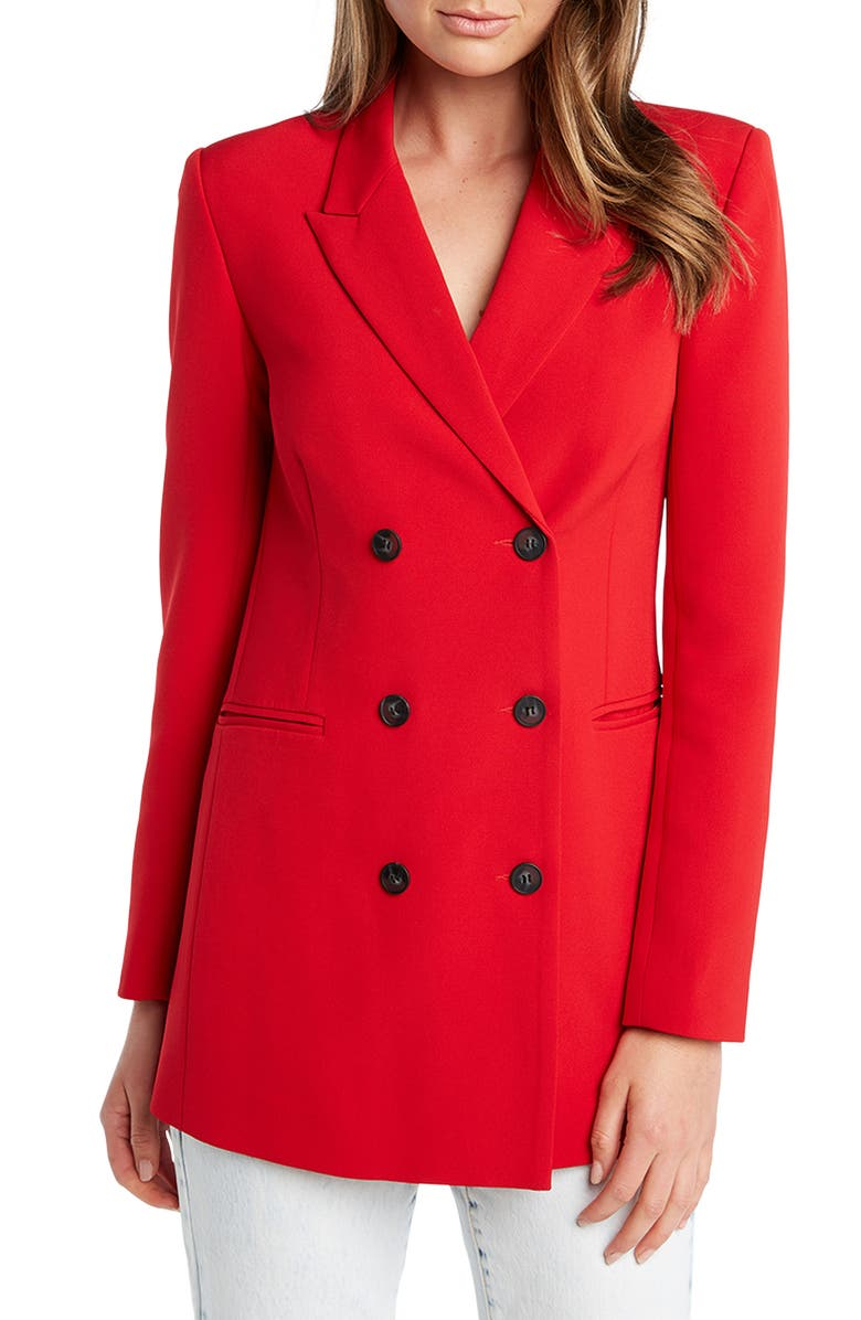 BARDOT New York Double Breasted Blazer, Main, color, FIRE RED