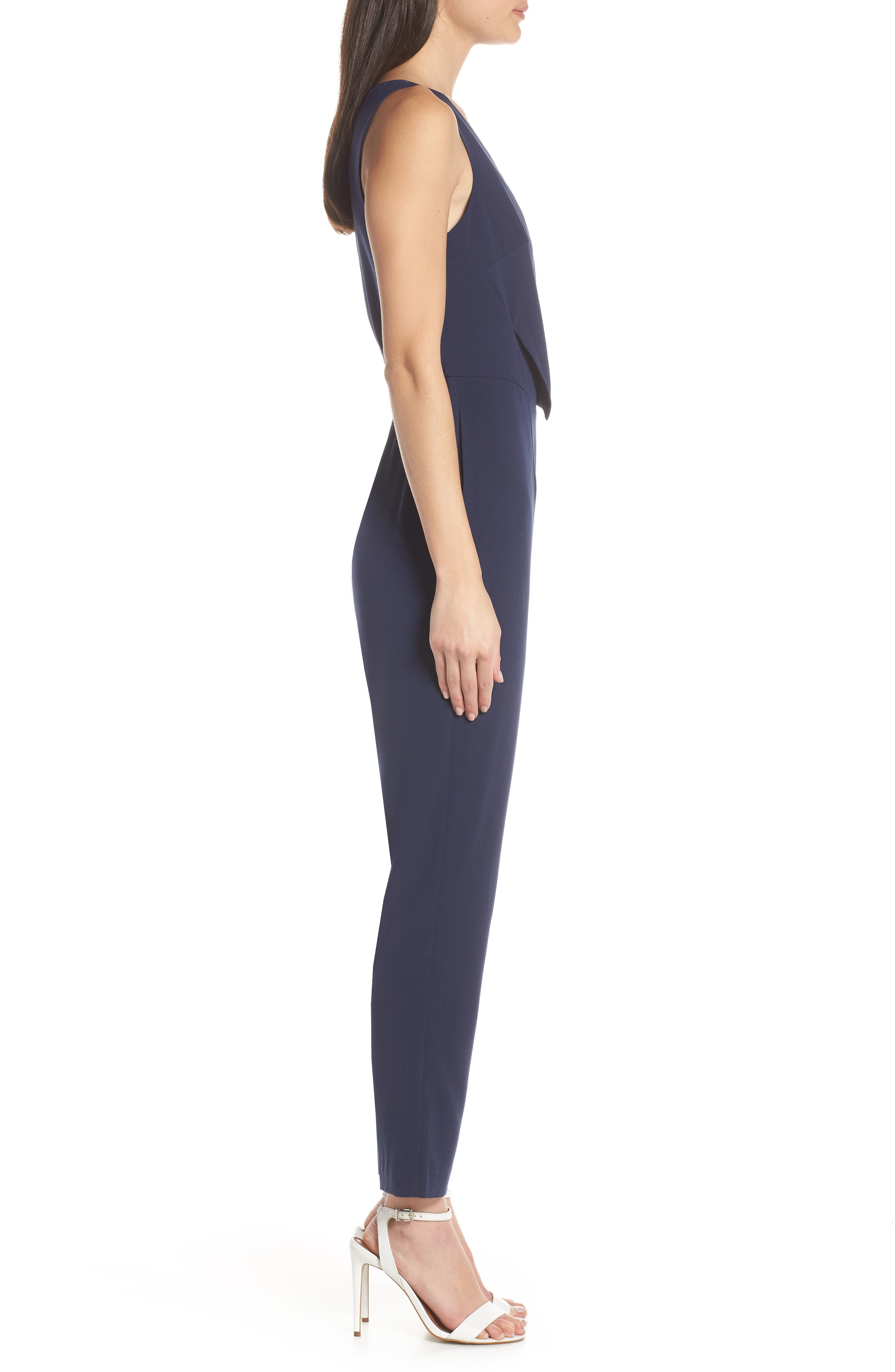 ,                             Sleeveless Slim Leg Asymmetrical Jumpsuit,                             Alternate thumbnail 4, color,                             NAVY