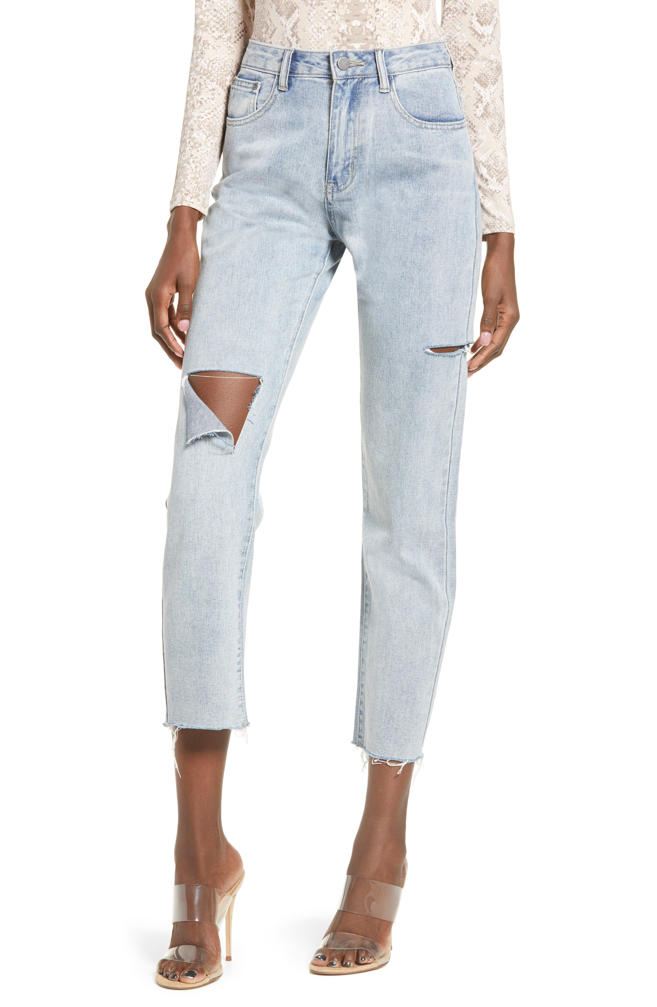 High Waist Ripped Raw Hem Nonstretch Ankle Skinny Jeans