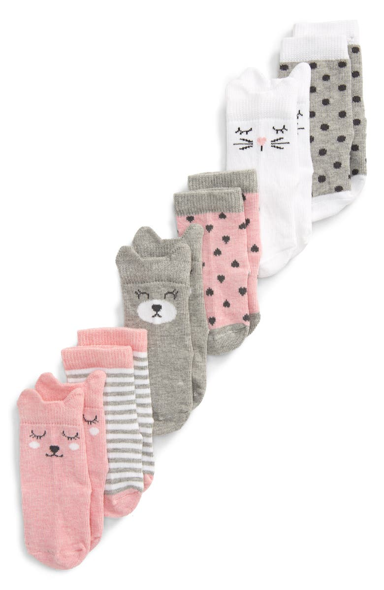 NORDSTROM 6-Pack Crew Socks, Main, color, PINK BABY ANIMAL PACK