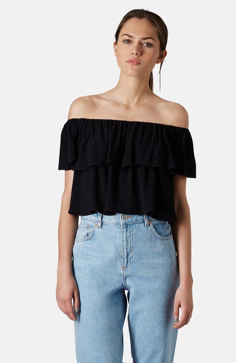 TOPSHOP Ruffle Off-Shoulder Crop Top, Main, color, 001