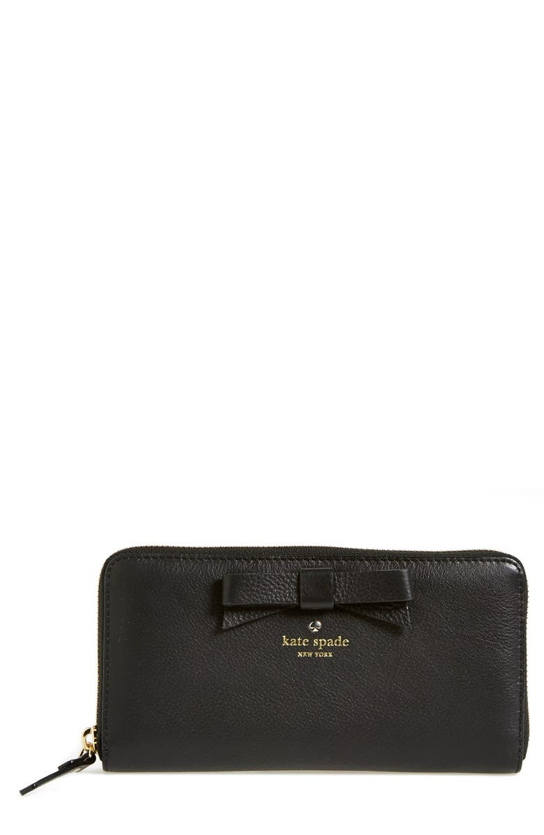 KATE SPADE NEW YORK 'north court - bow lacey' pebbled leather zip wallet, Main, color, 001