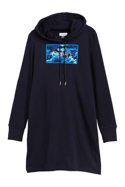 Image of Calvin Klein Camo Logo Hoodie Sweatshirt Dress