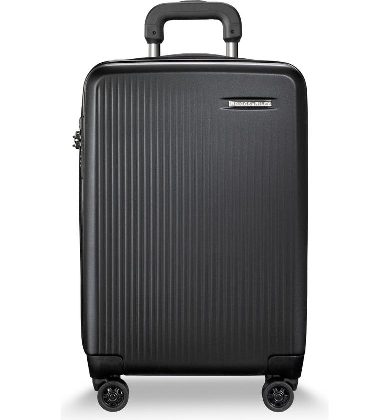 BRIGGS & RILEY 22-Inch Domestic Expandable Spinner Wheeled Suitcase, Main, color, MATTE BLACK