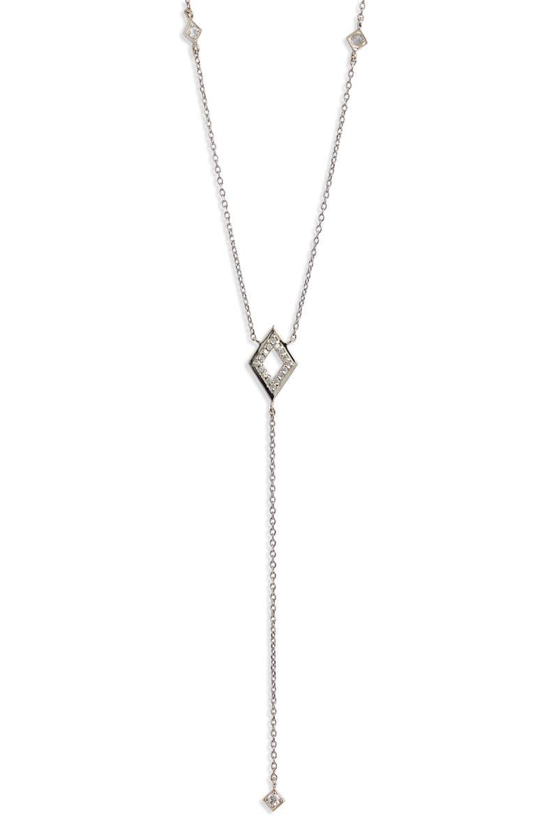 ANZIE Cleo Rhombus Pavé Sapphire Y-Necklace, Main, color, SILVER/ SAPPHIRE