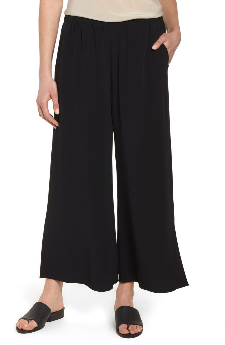 EILEEN FISHER Wide Leg Ankle Pants, Main, color, 001
