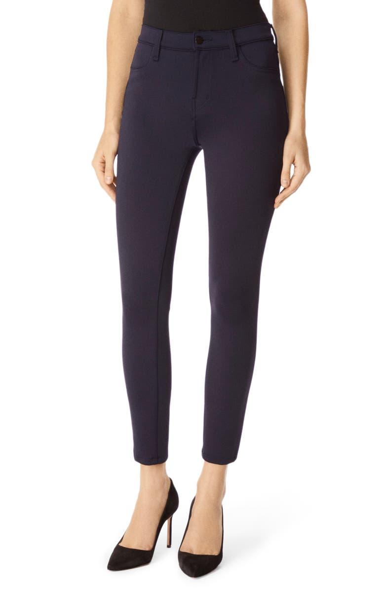 J BRAND Alana High Waist Crop Scuba Knit Skinny Jeans, Main, color, NAVY